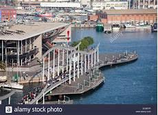 port vell barcelona maremagnum shopping mall and rambla de mar walkway in port
