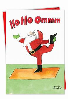 santa yoga funny christmas card nobleworkscards com