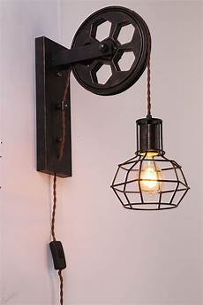 kiven plug in plley industrial cage wall sconce vintage wall light fixture industrial retro