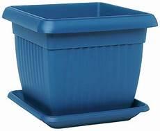 pot de fleurs carr 233 soucoupe coloris bleu poterie