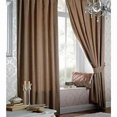 Brown Curtains by Catherine Lansfield Faux Silk Eyelet Curtains In Light Brown