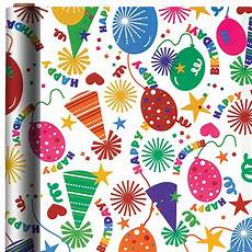 hats balloons birthday gift wrap 16ft x 30in