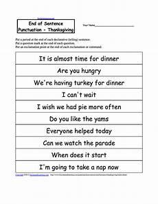 writing sentences punctuation worksheets 22216 end of sentence punctuation thanksgiving punctuation worksheets grammar worksheets printables