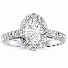 1 1 2ct oval clarity enhanced diamond halo engagement ring