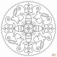 easter mandala with bunny and eggs coloring page free
