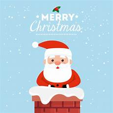 merry christmas card with santa claus in chimney vector free download