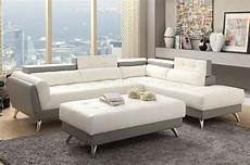F6979 Sectional Sofa White Light Grey Bonded Leather By