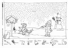 durch das jahr winter schlitten schneemann der