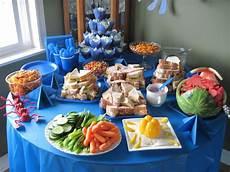 themed birthday food table the sea