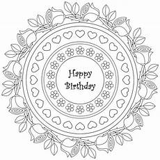 therapy coloring page happy birthday mandala happy