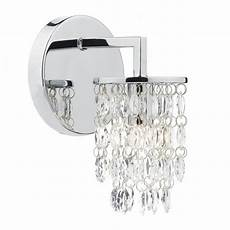 wall lights crystal droplets contemporary decorative wall light in polished chrome w crystal drops