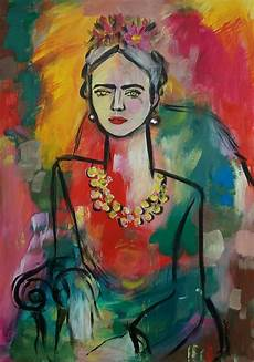 frida kahlo inspired portrait original painting abstract