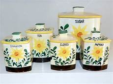 sunflower canisters for kitchen vintage canister set of 5 50s nasco sunflower canisters