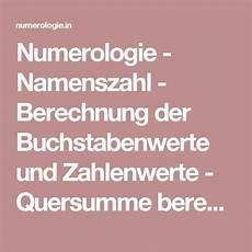 numerologie namenszahl berechnung der buchstabenwerte
