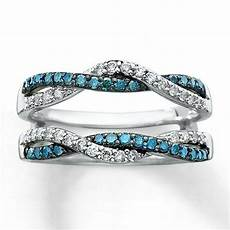 blue white diamond solitaire engagement ring enhancer wrap 10k white gold ebay