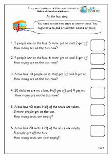 ks2 maths word problem worksheets 11383 2 step word problems addition maths worksheets for year 2 age 6 7