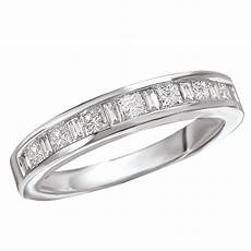 white gold princess cut baguette diamond band princess