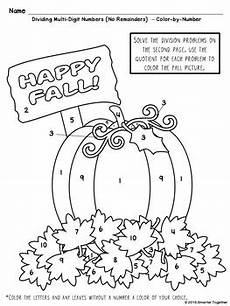 color by number fall coloring pages 18108 multi digit division color by number fall theme by smarter together