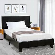 Size Platform Bed Frame Faux Leather Slats