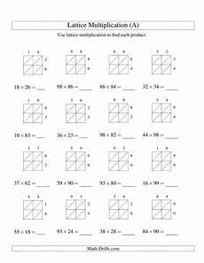 2 digit by 2 digit lattice multiplication a