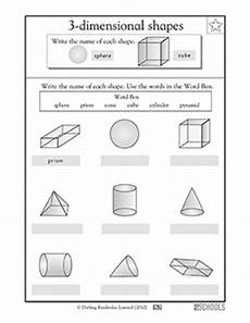 1st grade 2nd grade math worksheets recognizing 3 d shapes part 3 greatkids