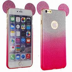 coque silicone strass paillettes oreilles mickey pour