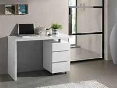 Bureau Design Avec 3 Tiroirs Blanc Laqu 233 En Bois Mdf 120