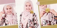 Fashion Gaya Jilbab Segi Empat Dengan Korsase Bunga