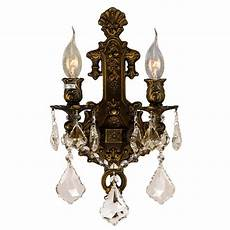 worldwide lighting versailles 2 light bronze finish and golden teak crystal medium wall