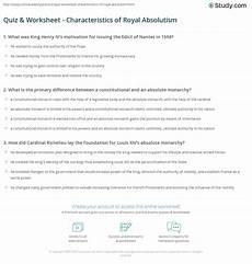 quiz worksheet characteristics of royal absolutism study com
