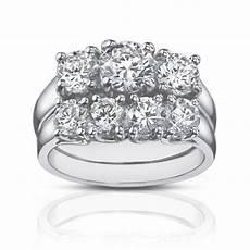 2 25 ct three stone diamond engagement ring with wedding band