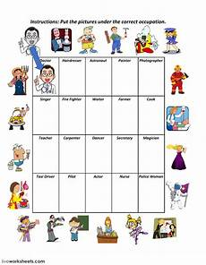 occupations and occupations worksheet