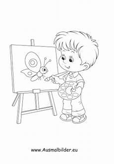 ausmalbild malender junge kostenlos ausdrucken