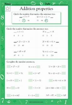 addition properties ii math practice worksheet grade 1
