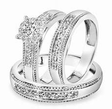 7 8 carat t w diamond trio matching wedding ring 14k