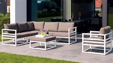 white aluminum fabri outdoor lounge set with taupe