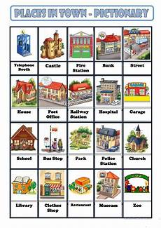 esl worksheets places in town 16001 places in town with images edukacja