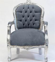 sessel sitzen kleiner barock chair silber grau barockstuhl f 252 r kid 180 s