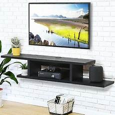 fitueyes wood floating shelves wall mount tv stand media