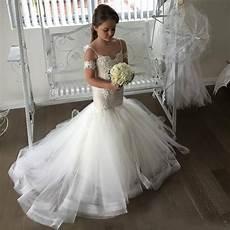 2017 new white ivory flower girl dresses spaghetti straps lace appliqued mermaid little girl s