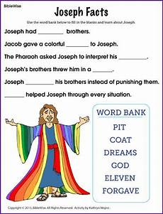 joseph facts fill in the blank kids korner biblewise kids sunday school lessons sunday