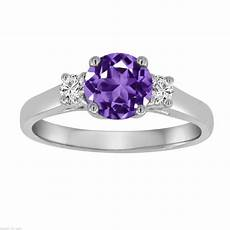 amethyst diamond three stone engagement ring 14k white gold 1 27 carat purple birthstone
