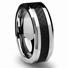 men s titanium ring wedding band black carbon fiber 8mm