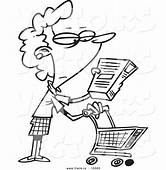Vector Of A Cartoon Shopping Woman Reading An Ingredient
