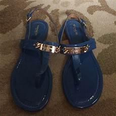 coach shoes euc blue gold plated t sandals sz 7 poshmark