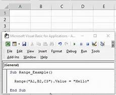 vba range cells working with cells ranges in excel vba exles