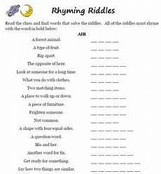 word games rhyming riddles worksheets