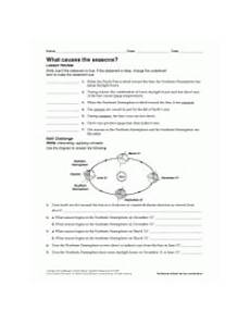 seasons worksheets for 8th grade 14804 what causes seasons earth science printable 6th 12th grade teachervision