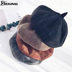 plaid adulte personnalisé 2018 new autumn winter beret berets plaid wool hat artist headwear 4
