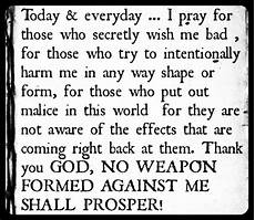 pp gt no weapon formed against me shall prosper so you re actually praying for this person to